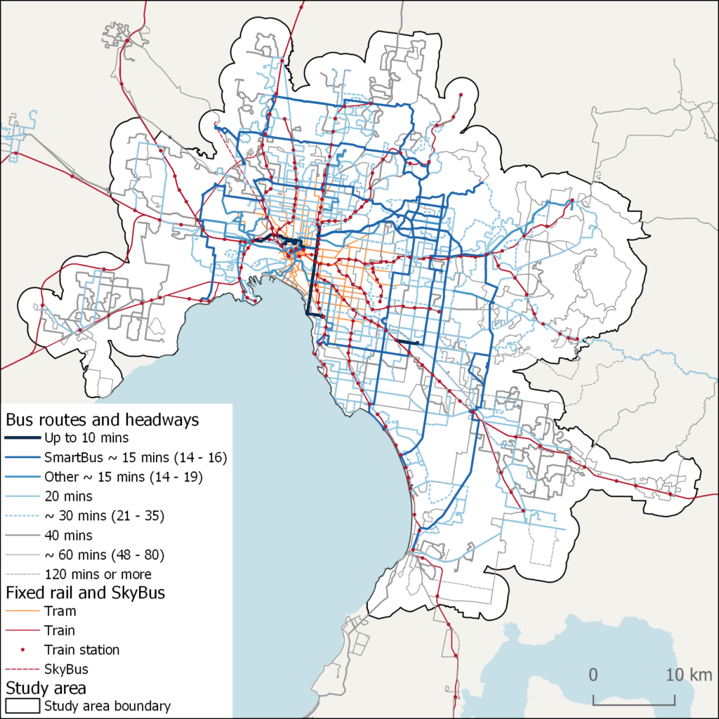 Map of existing Melbourne bus routes
