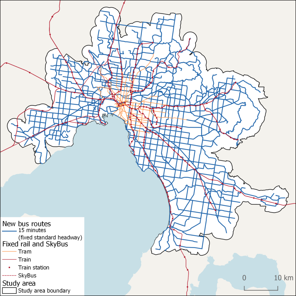 Map of proposed new bus routes for Melbourne