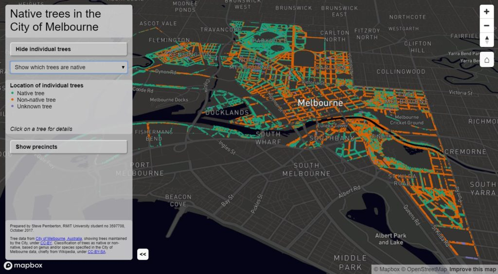Image of interactive Melbourne trees web page
