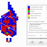 Cartogram map of Australian federal electorates, coloured by party