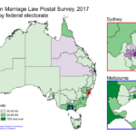 Map of Australian federal electorates showing results of marriage equality survey